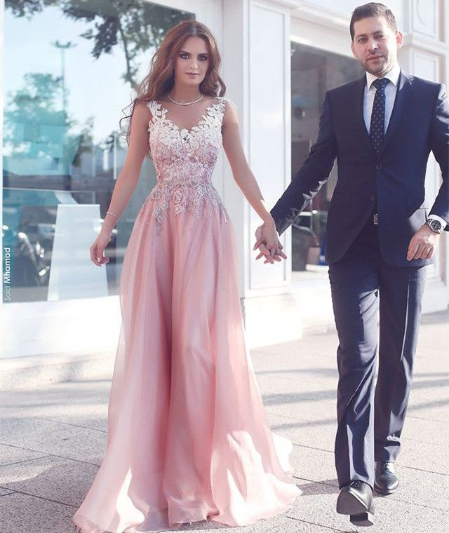 A-Line Illusion Bateau Floor-Length Pink Chiffon Prom Dress with ...