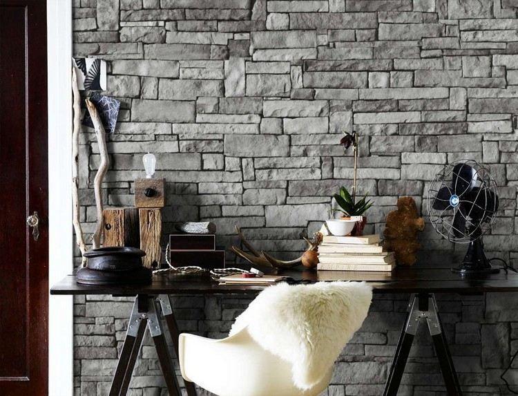 papier peint trompe l il 33 id es pour embellir maison trompe pierre de parement et papier. Black Bedroom Furniture Sets. Home Design Ideas