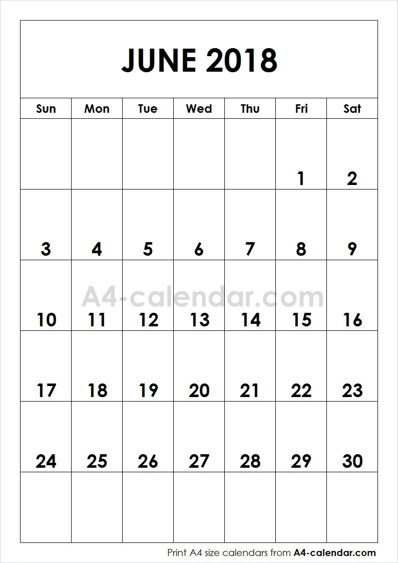 June 2018 Monthly Calendar Printable Calendar Printables Calendar