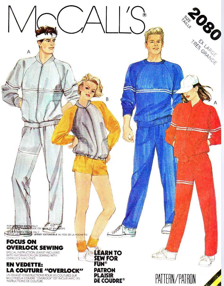 McCall\'s Sewing Pattern 2080 Unisex Misses Mens Chest Size 44-46 ...