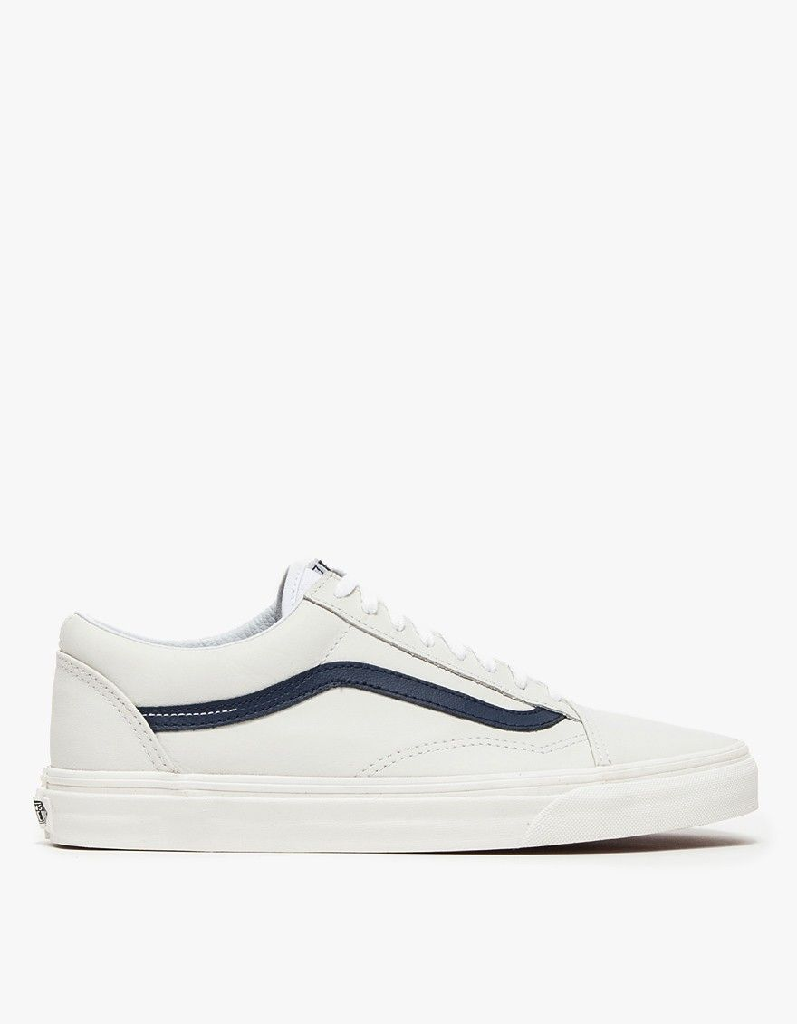 Vans Old Skool In Matte Leather True White Blue | Nuji