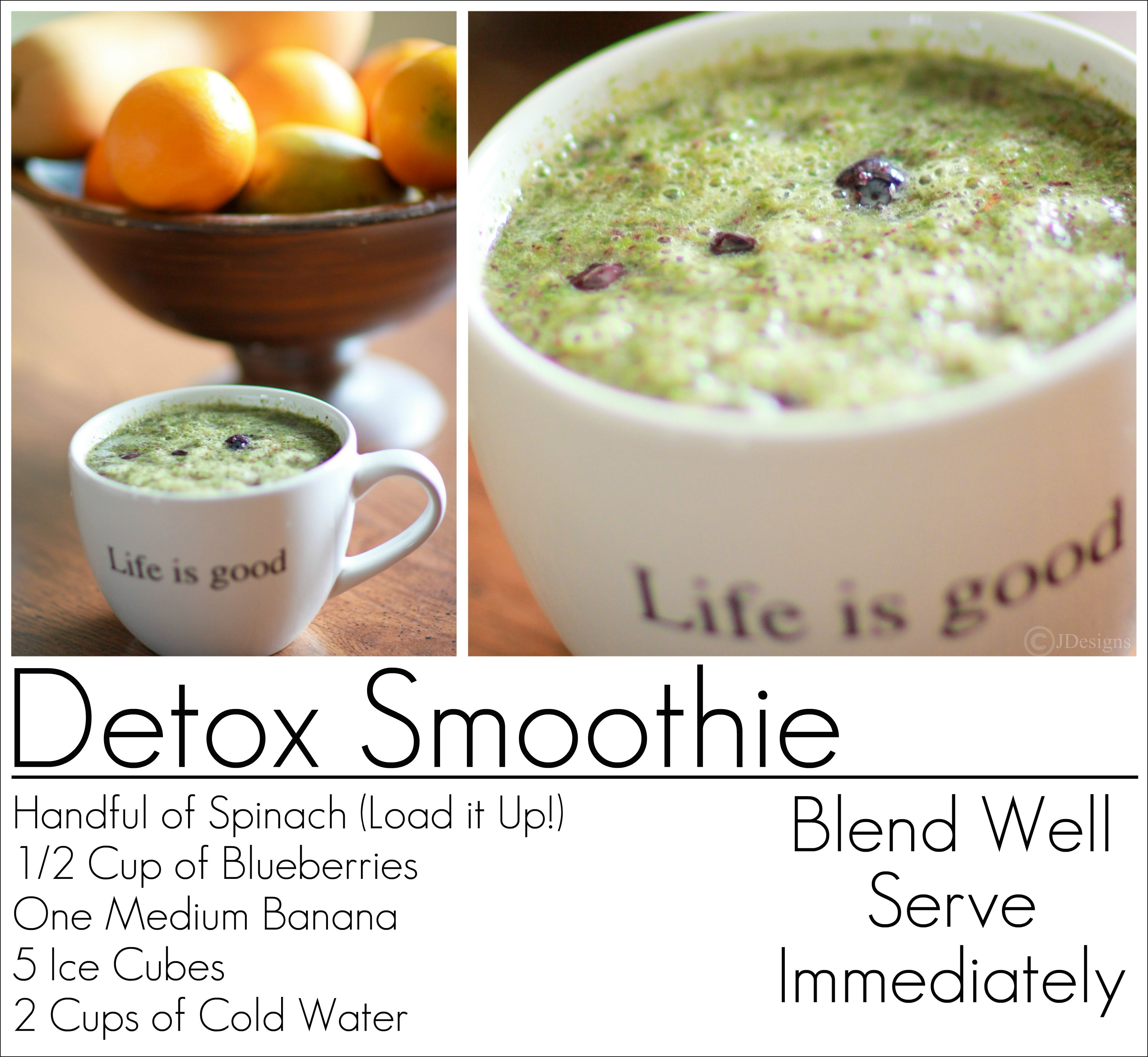 detox smoothie recipe blueberry spinach banana get fit
