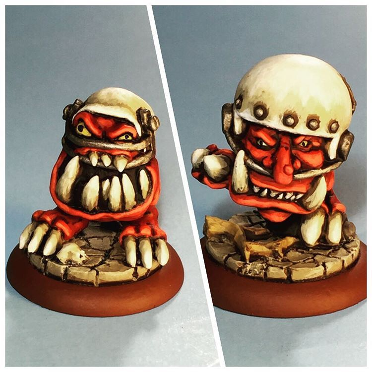 Squigs don't have any official rules in Blood Bowl but they can double for linemen or goblins with the right skills. #instaframe+ #squigs #orcs #bloodbowl #boardgames #miniatures #gw #gamesworkshop #fun