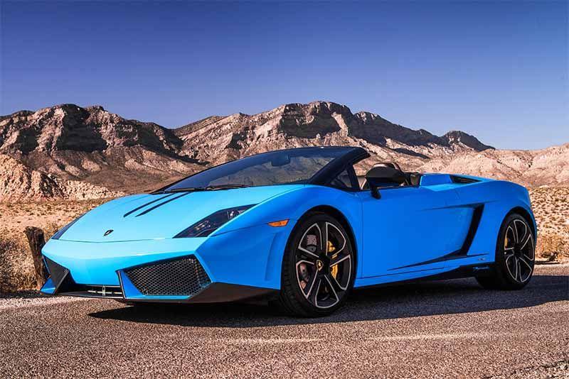 Blue 2014 Lamborghini Gallardo Convertible Exterior Front Angle