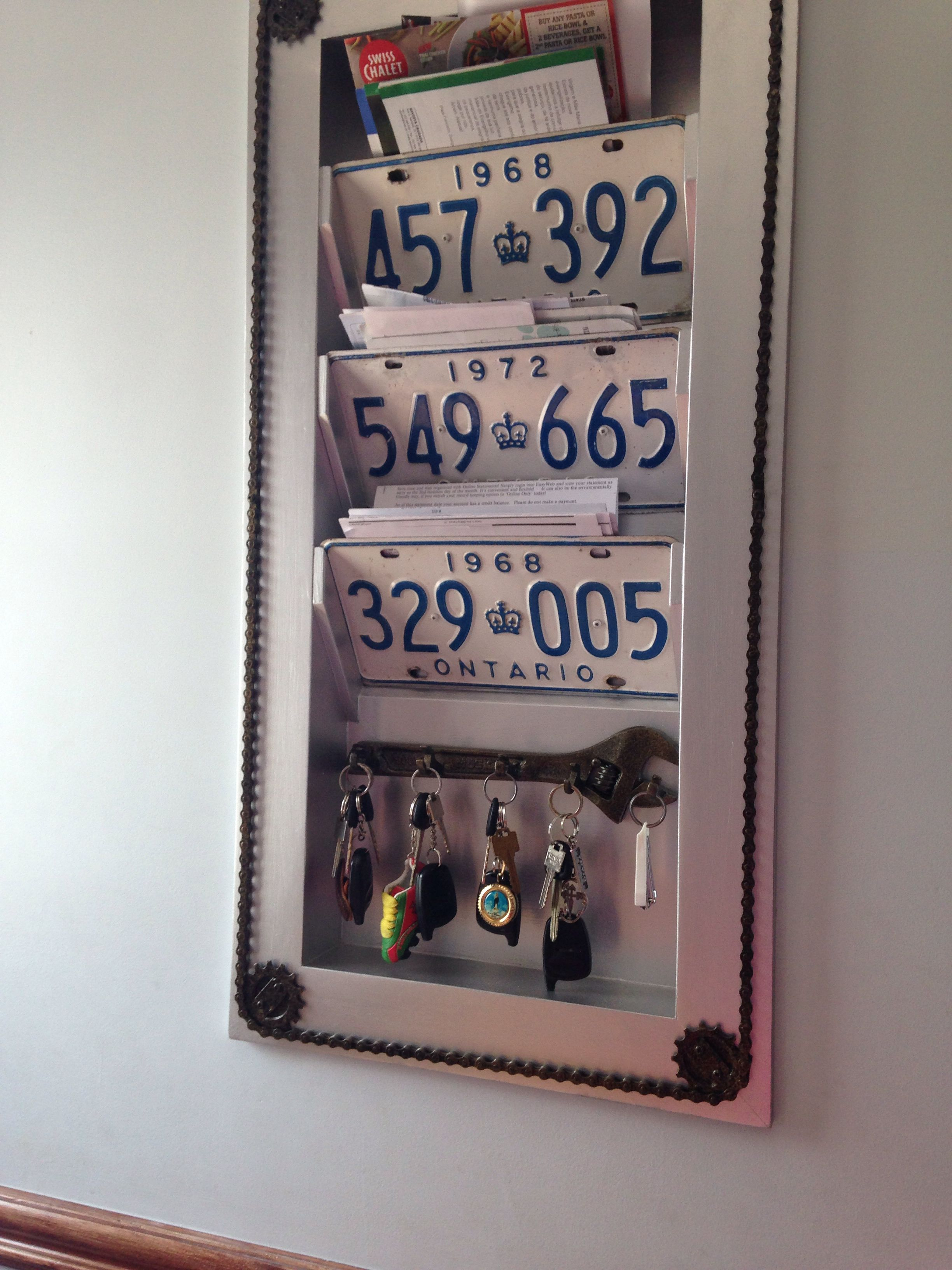 My Father S Brilliant Unique Mail And Key Holder License Plates Bike Gears And Wrenches Find