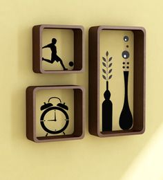 Home Sparkle Set Of 3 Brown Cube Shelf With Wall Stickers