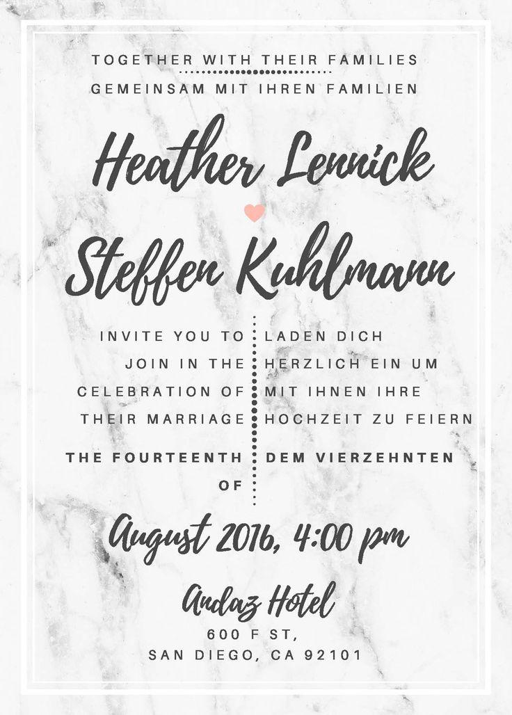 Bilingual marble wedding invitation in English and German ...