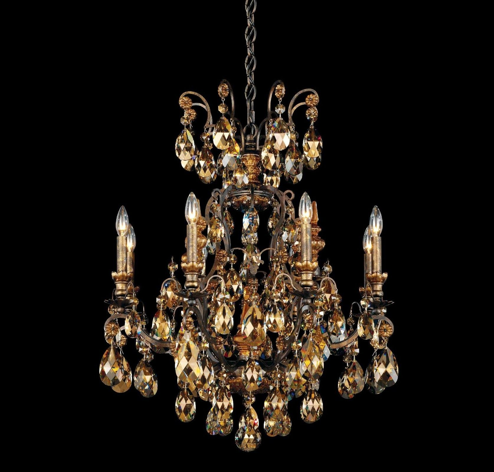 renaissance versailles 81 light chandelier schonbek chandeliers crystal antique glass gold - Schonbek Lighting