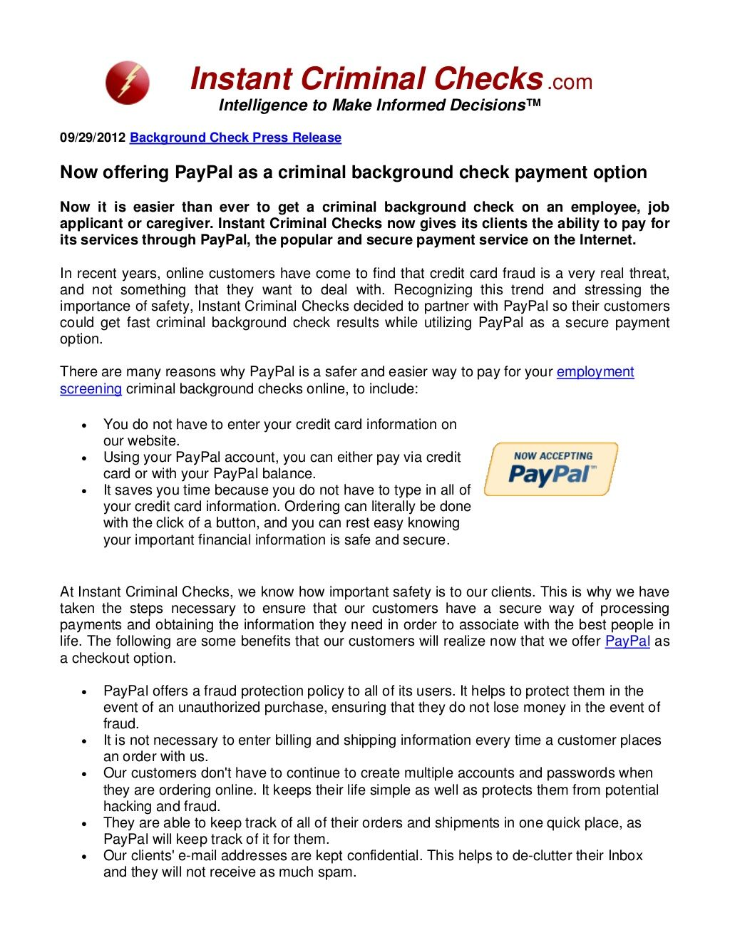 Order Criminal Background Checks Using Paypal Via Slideshare Https Slideshare Net Instant Criminal Background Check Background Check Tenant Background Check