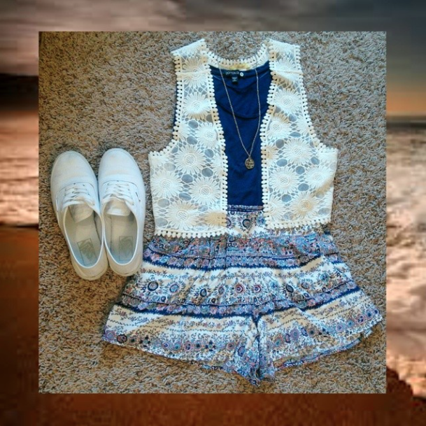 Summer 2014 OOTN for a bonfire in SD :)  crotchet vest from Q // navy crop top from Cotton On // shorts from Kohls // shoes from Vans