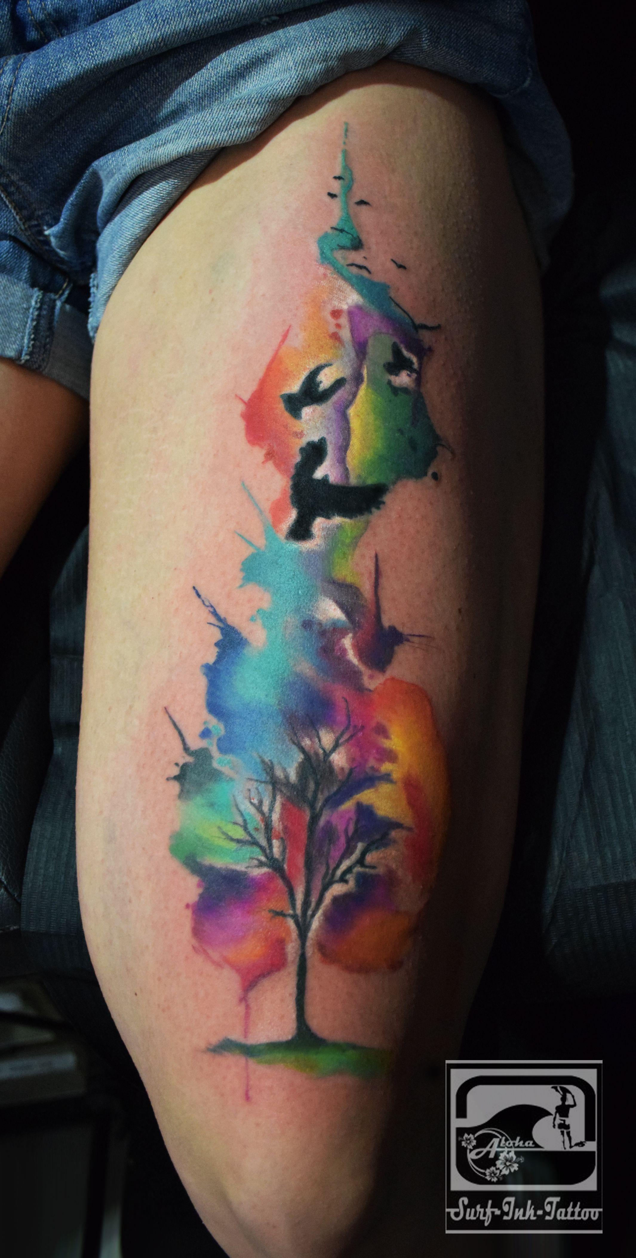 Watercolour Tattoo Aquarell Tattoo Watercolor Tattoo Ted