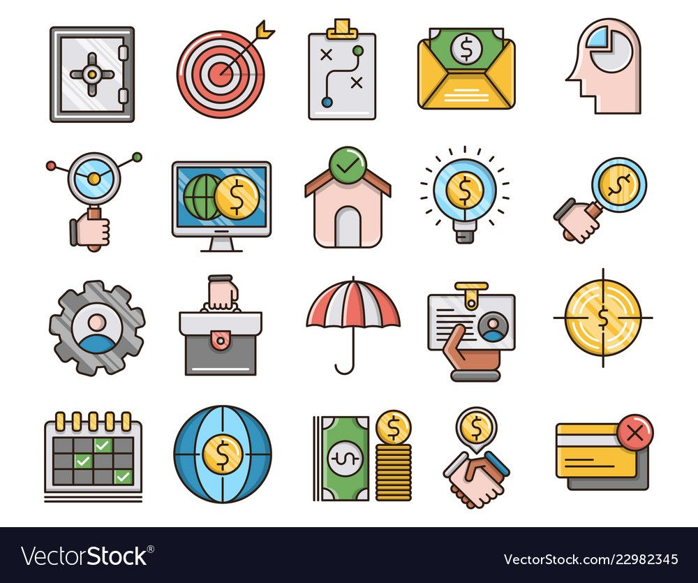 Business and finance filled outline icons vector image on