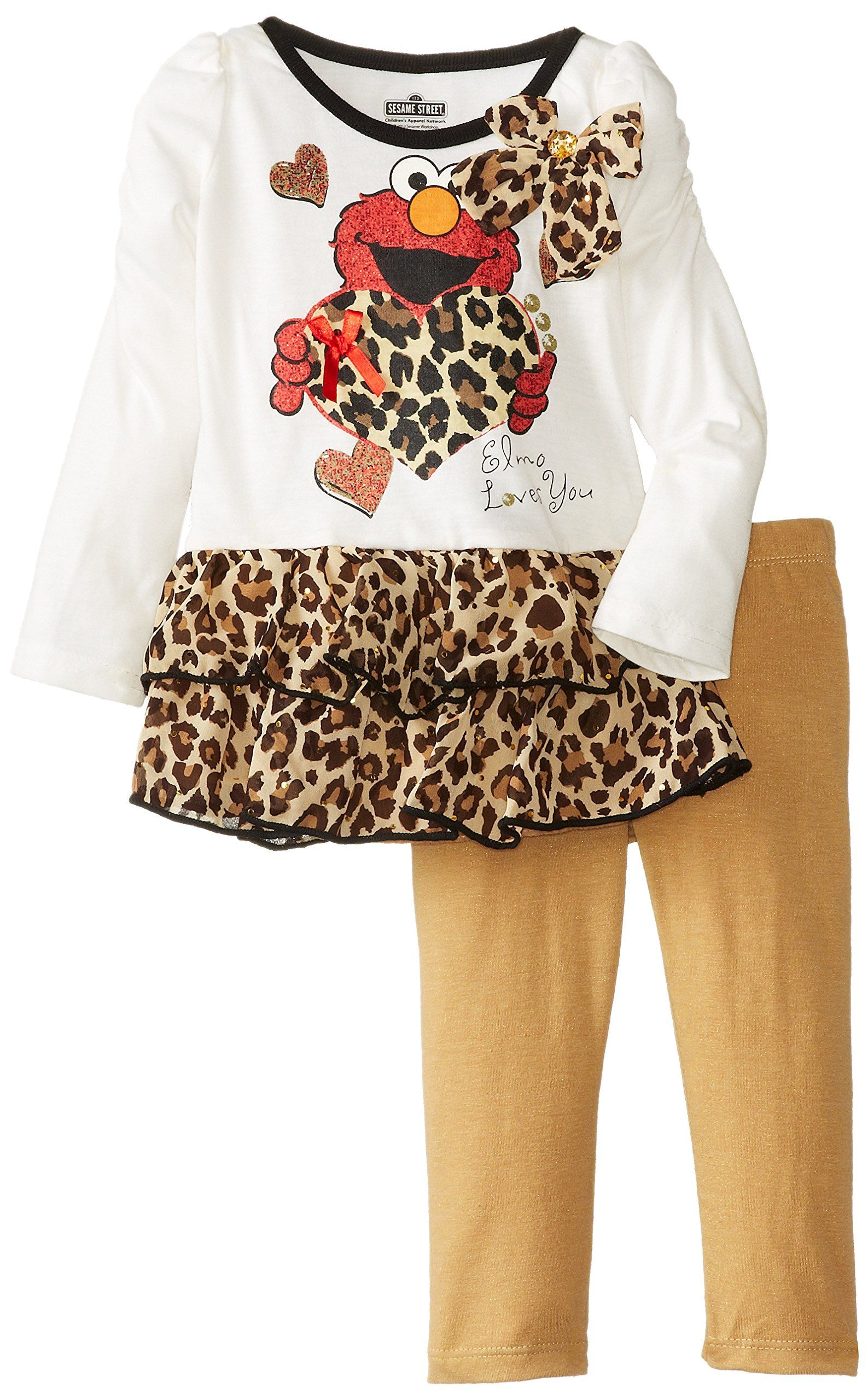 17c38572f9f6c Sesame St Baby Girls Elmo 2 Piece Print Long Sleeve Legging Set Vanilla 12  Months *** For more information, visit image link.(It is Amazon affiliate  link) # ...