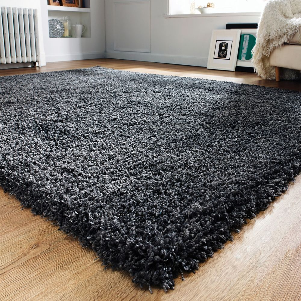 Modern Thick Fluffy Charcoal Grey Shaggy Rugs Non Shed Soft Area