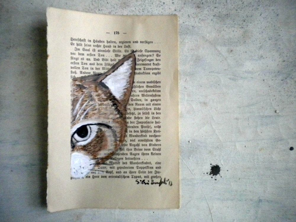 Watercolor and tempera painted on a discarded book page ...