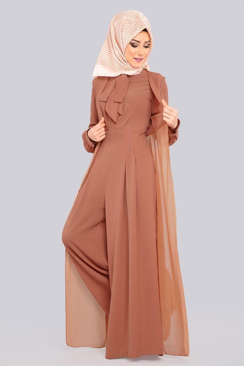 Sifon Yelekli Tesettur Tulum Mdh6537 Koyu Somon Tesettur Abiye Modelleri 2020 Tesettur Abiye Modelleri 2020 2020 Aksamustu Giysileri Sifon Elbise Giyim