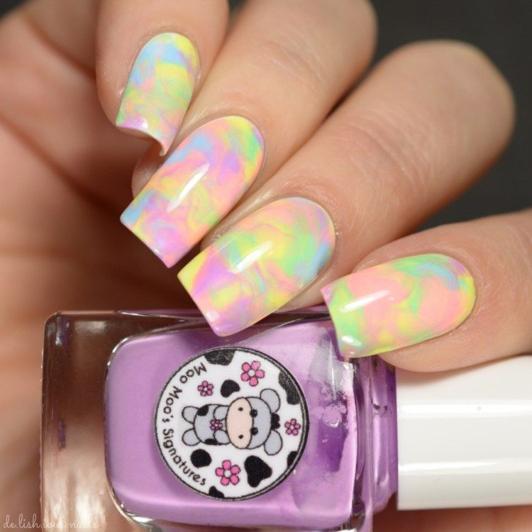 Tie dye nail art with pastel neons - Moo Moo Signatures Rainbow Flowers Bath Nail Art Neat Nails