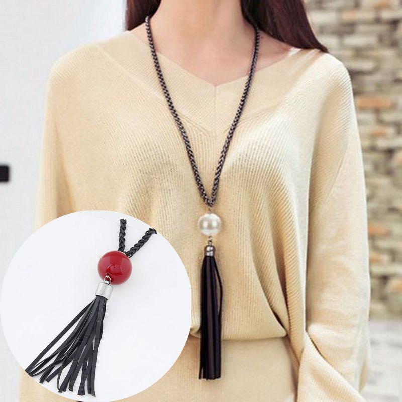 2016 새로운 도착 술 펜던트 스웨터 체인 긴 구슬 목걸이 패션 보석 선물 화이트 무료 배송