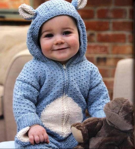 gestrickter baby strampler teddy knitted baby. Black Bedroom Furniture Sets. Home Design Ideas