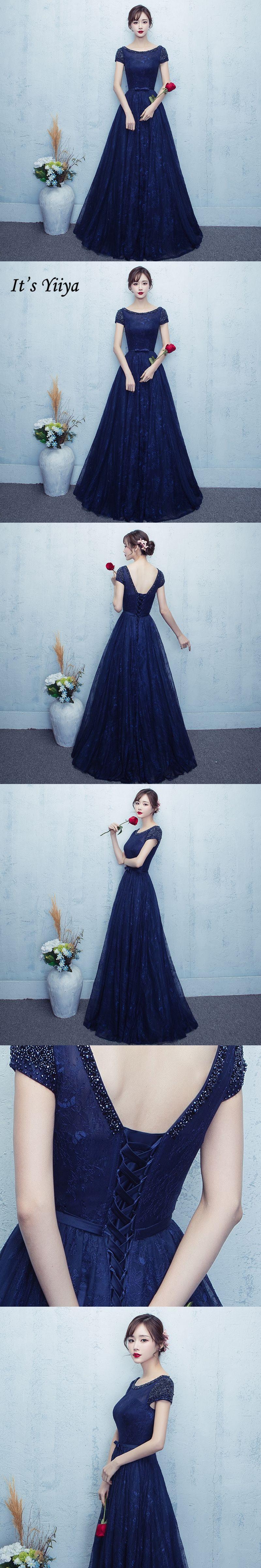 Itus yiiya new navy blue short sleeve oneck prom dresses