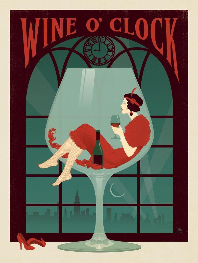 Wine O Clock Clock Wall Art Retro Art Deco Vintage Clock
