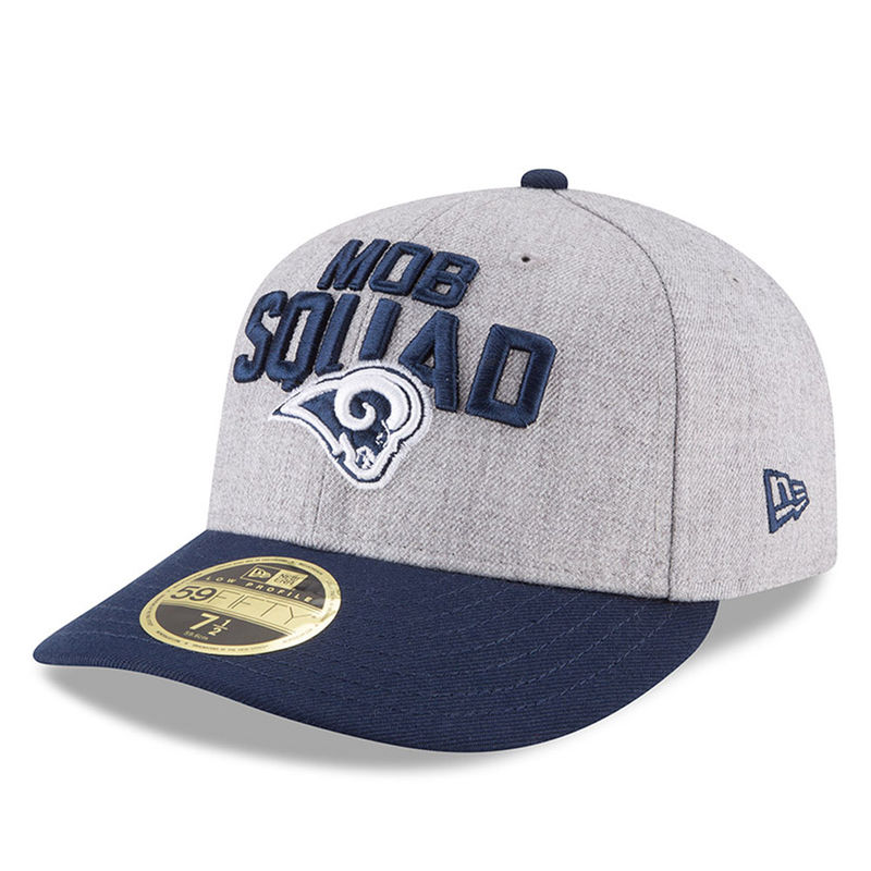 low priced c2401 9ed9e Los Angeles Rams New Era 2018 NFL Draft Official On-Stage Low Profile  59FIFTY Fitted Hat – Heather Gray Navy