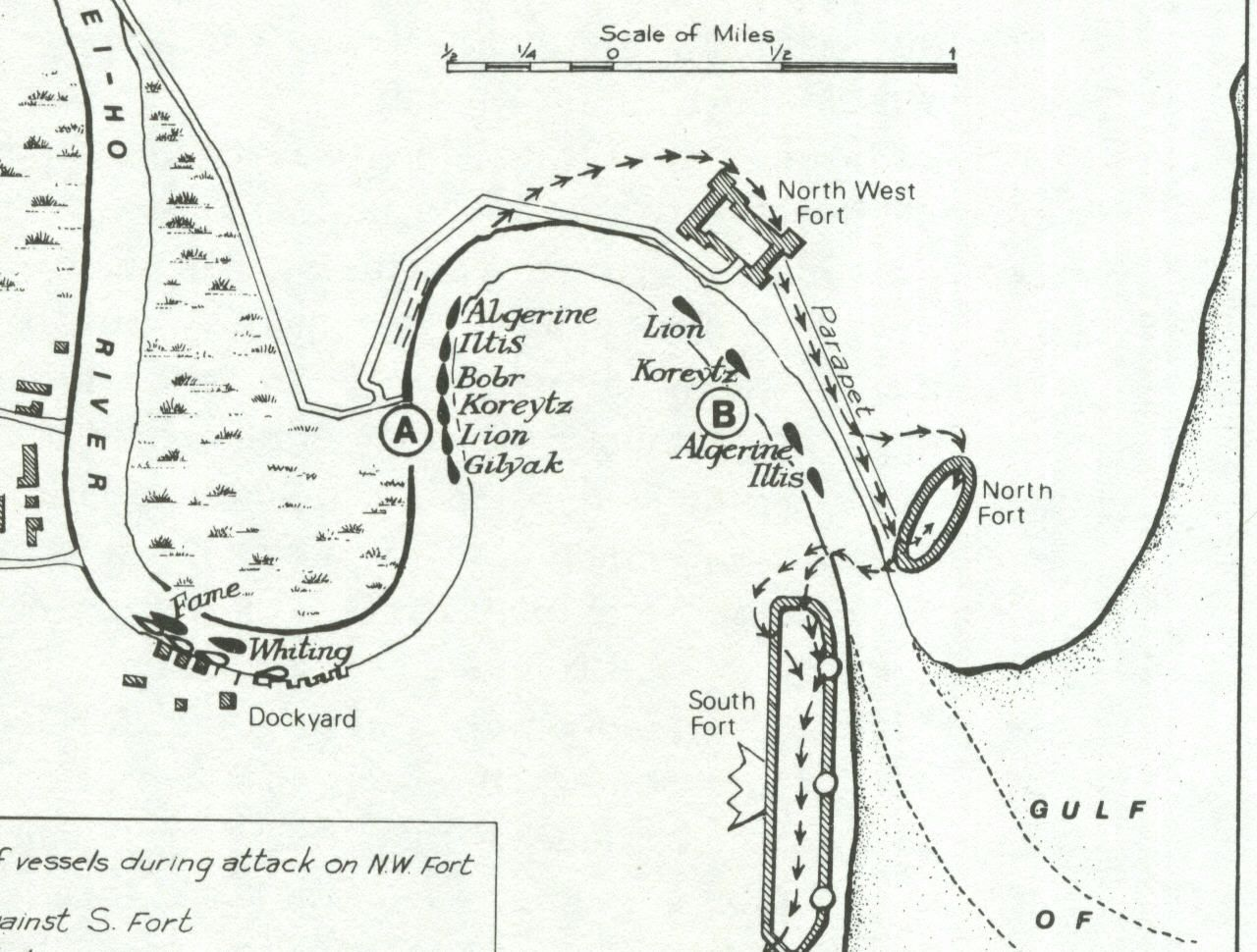 Map showing the locations of the Dagu fortifications defended by the Chinese forces (imperial forces and Boxers) at the Northwest Fort, North Fort and South Fort.  Map also shows the locations of 12 ships attempting to eliminate these forts, enabling the troops to provide relief to the Beijing legations.
