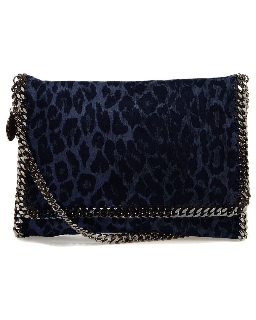 Stella McCartney   Blue and black faux suede crossbody with gunmetal chain link trim and leopard-printed pattern