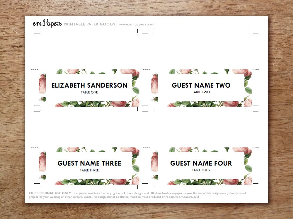 Printable Place Card - Vintage Roses | Place Card Template, Card
