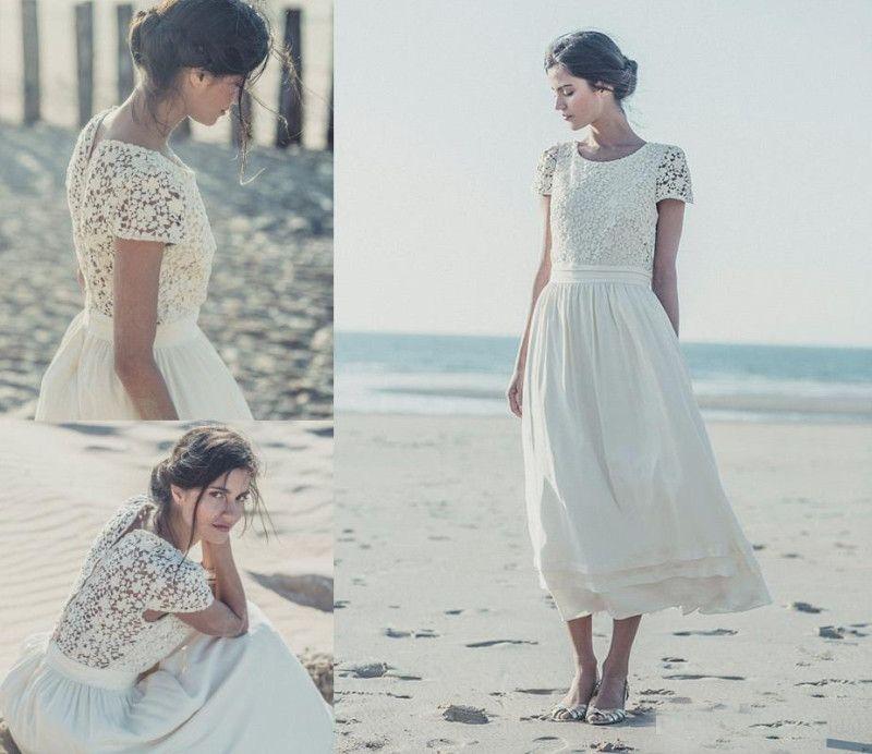 A-line Scoop Ivory Lace Short Sleeves Tea Length Beach Wedding Dress