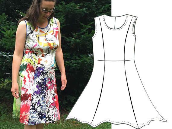 Kleid Größe 46-56 große Größen ärmellos Teilungsnähte Jerseykleid ...