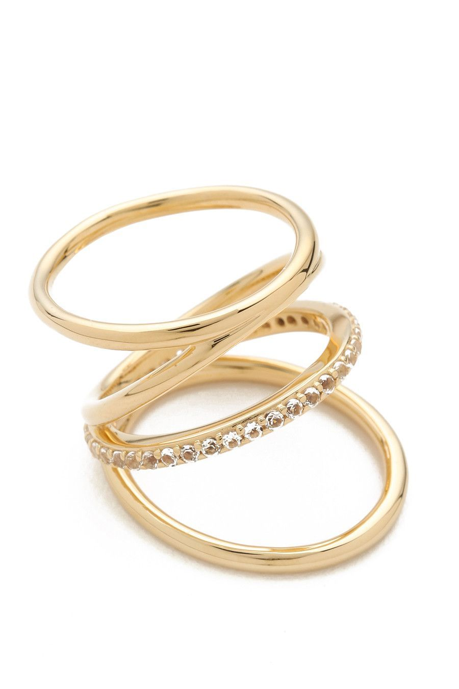 Elizabeth & James Pave Ray Ring in Metallic Gold