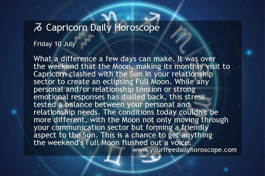 Capricorn Daily Horoscope for Friday 10 July Scorpio