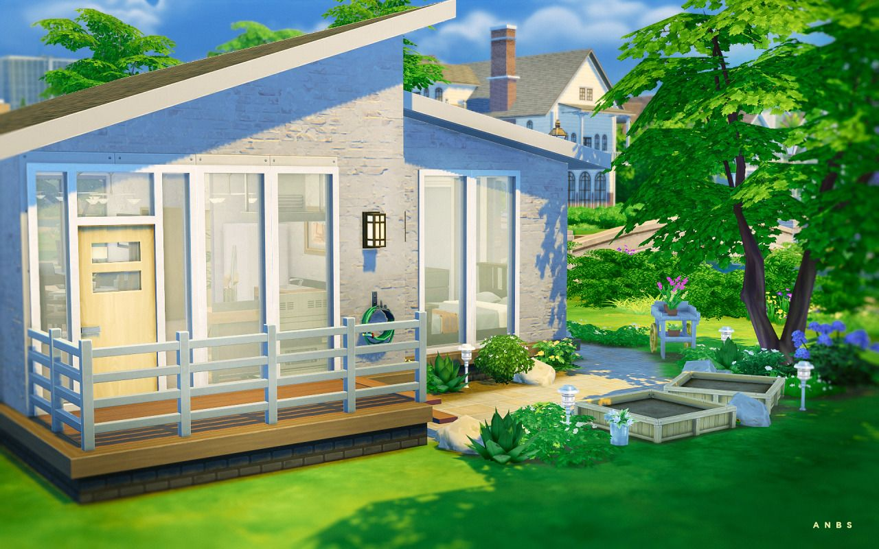 Simple Modern Starter Residential Lot By Alachie And Brick Sims Just A Smaller Starter House That Has Everything Y Sims House Sims 4 Houses Sims 4 House Design