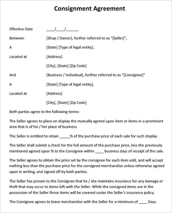 Consignment Contract Template 4 Free Word Pdf Documents Template