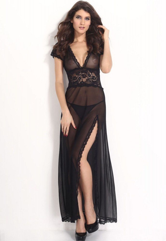 9e3066a3412 Plus Size Black Mesh and Lace V Neck Lingerie Gown