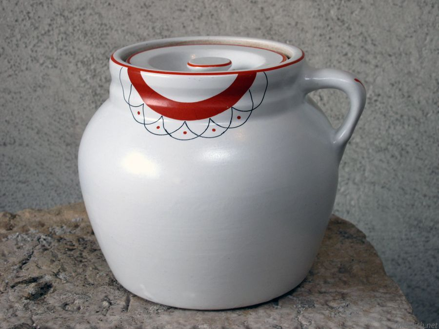 Hall Kitchenware Eggshell Buffet Large Bean Pot In The Swag Pattern.