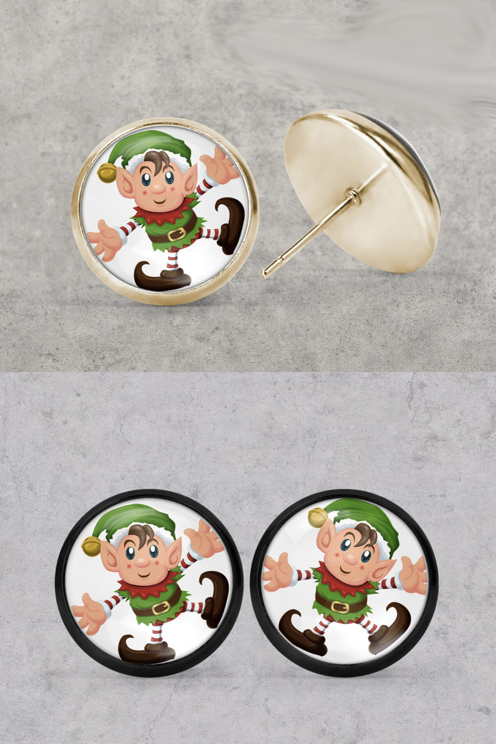Christmas elf gold color studs in Christmas jewelry and gift for her, cabochon earrings