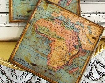 Gifts for men continent of africa map coasters africa historical gifts for men continent of africa map coasters africa historical wooden decoupage map coasters old world map gold stained antiqued map pinterest gumiabroncs Images