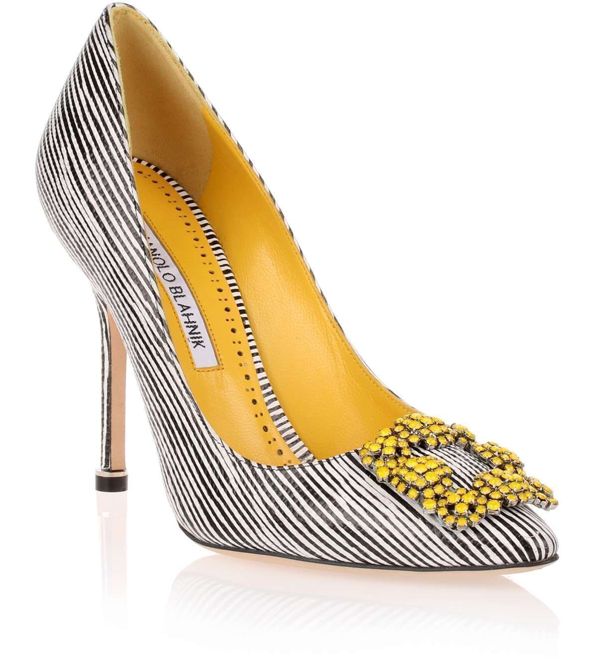 Black and white striped embossed leather pump with a yellow crystal  embellished ornament from Manolo Blahnik. The Hangisi pump has a slightly  pointed toe, ...