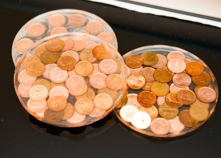 DIY Penny coasters - great way to use old coins