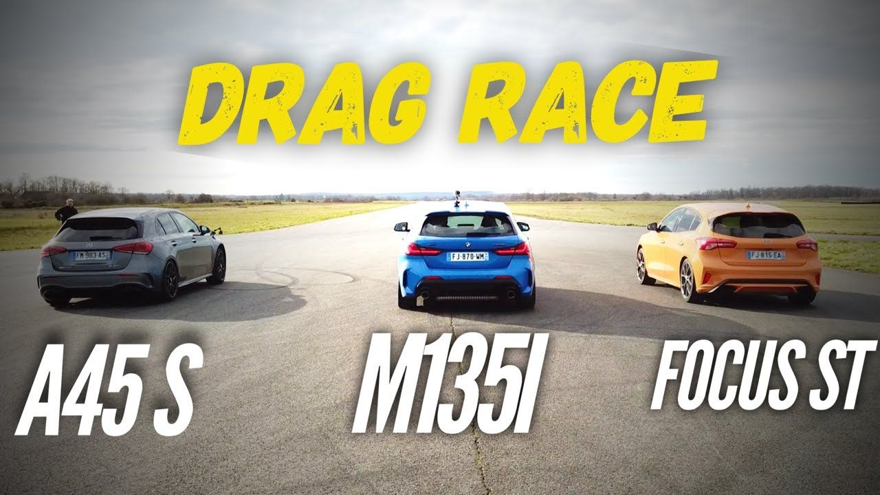 Watch The Mercedes Amg A45s Demolish The Bmw M135i And Ford Focus St In A Drag Race Mercedes Amg Ford Focus Bmw