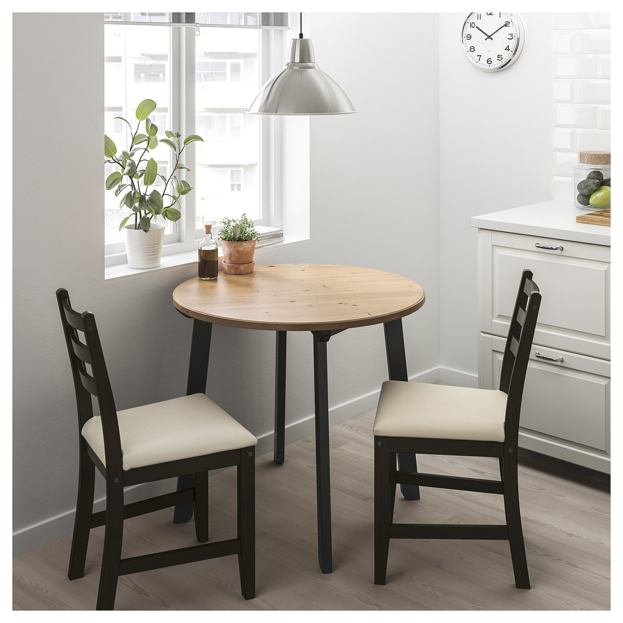 Gamlared Lerhamn Table And 2 Chairs Light Antique Stain Black