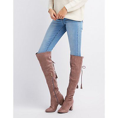 8f429ab5f1a1 Charlotte Russe Charlotte Russe Boots, Over The Knee Boot Outfit, Suede  Booties, Block