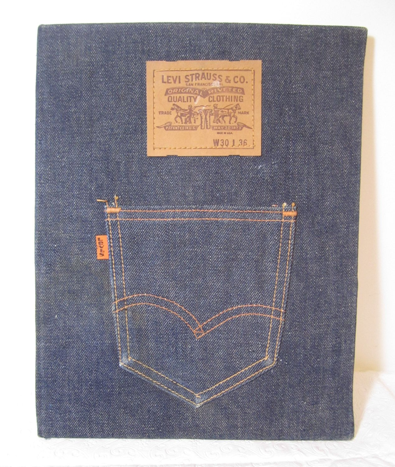 d8ef6e6a Denim Clipboard, Levi Strauss Notebook, Jeans Folder, Vintage Levi's  Clipboard, Blue Jean Notebook, 70's Orange Tab Levi's , Denim Clipboard by  ...