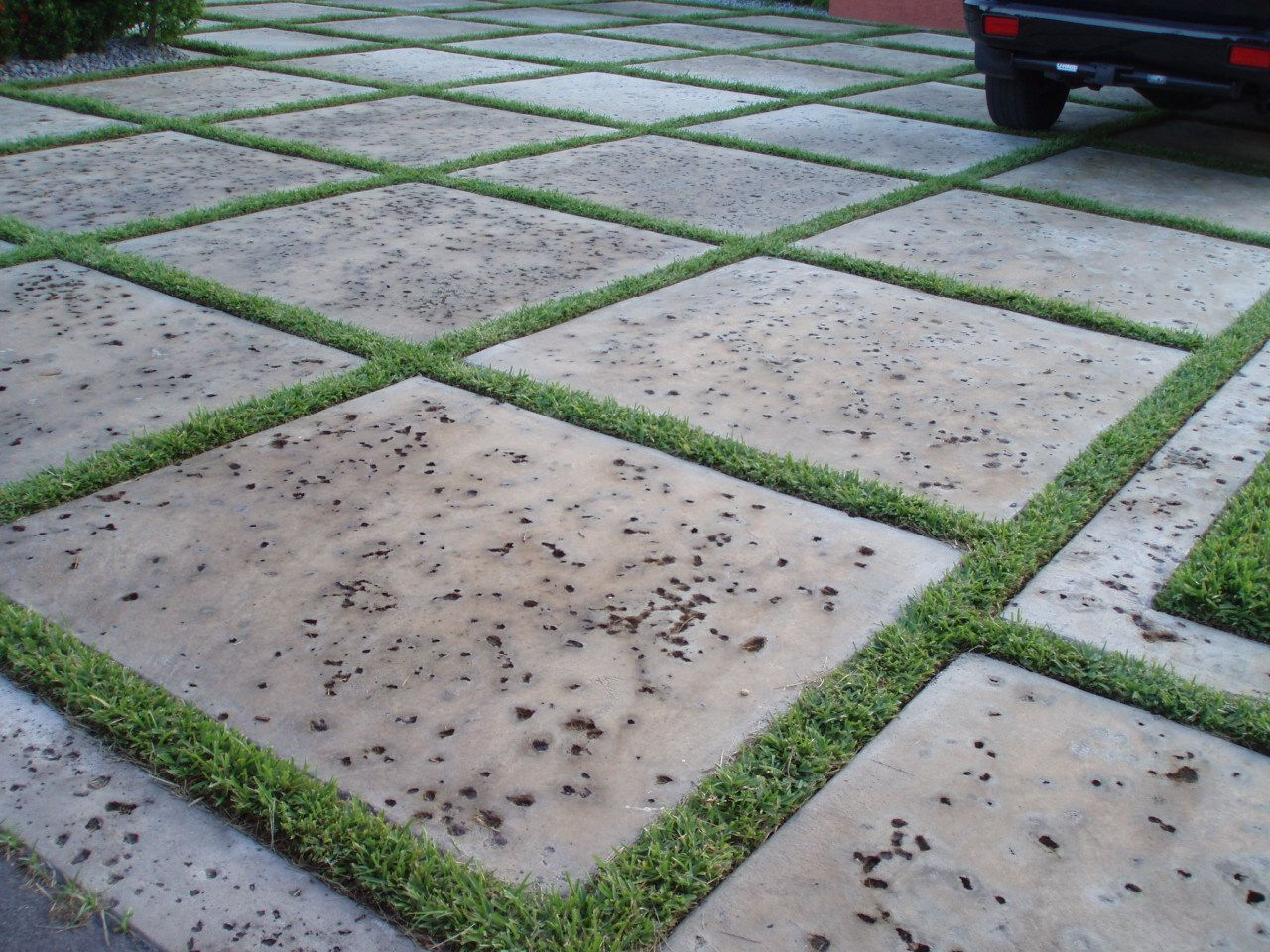 Modern Driveway, Custom Squares with artificial turf