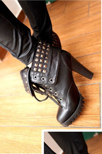 Winter Fashion Martin Lace ups rivet Embellished Heeled Short Boots for Women