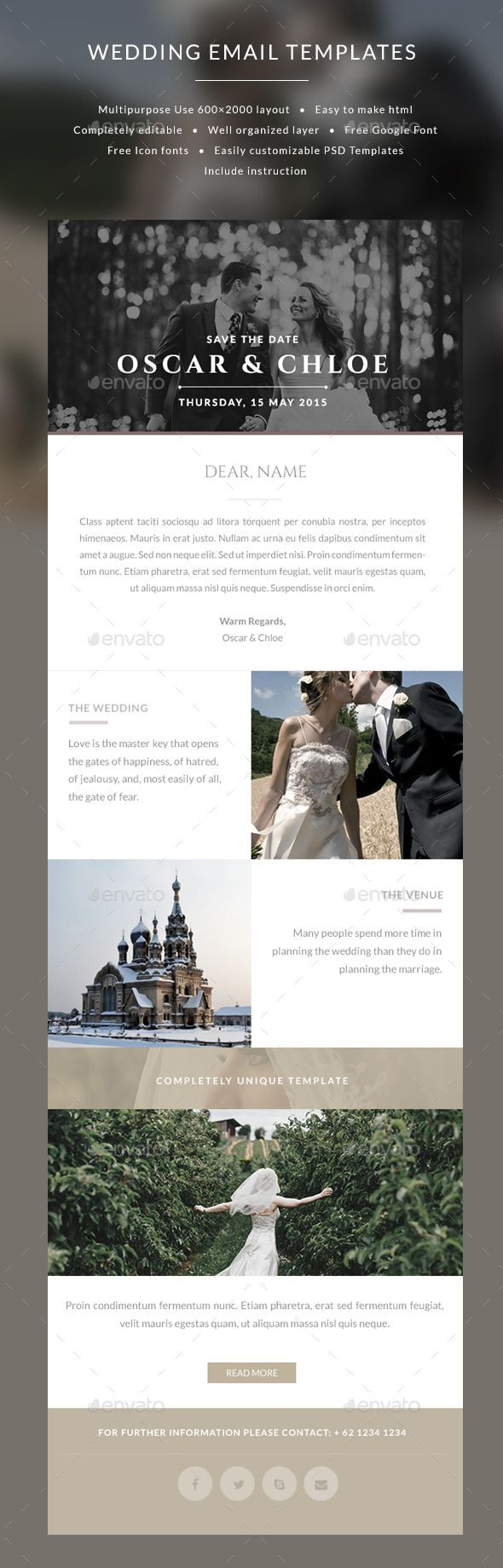 Email Wedding Invitation Templates  Oscar  Invitation Templates