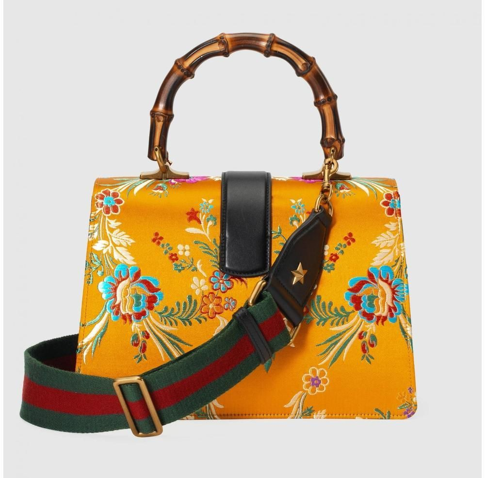 4e6fc7fc3d02 Gucci Dionysus Medium Yellow Jacquard Bamboo Top-Handle Bag-Gucci-Runway  Catalog