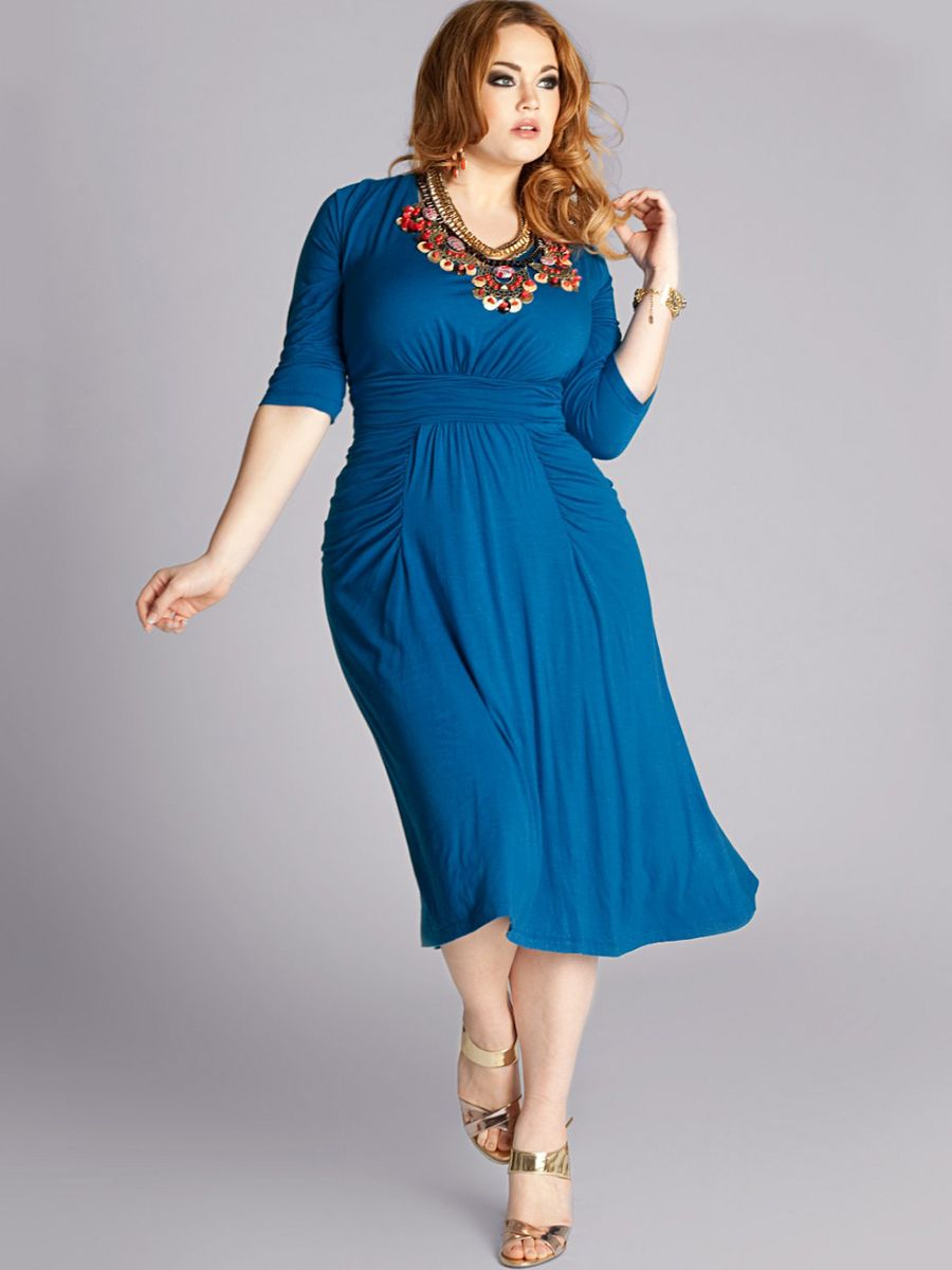High Neck Plus Size Royal Blue Smooth Chiffon Half Sleeves Full Wrap ...
